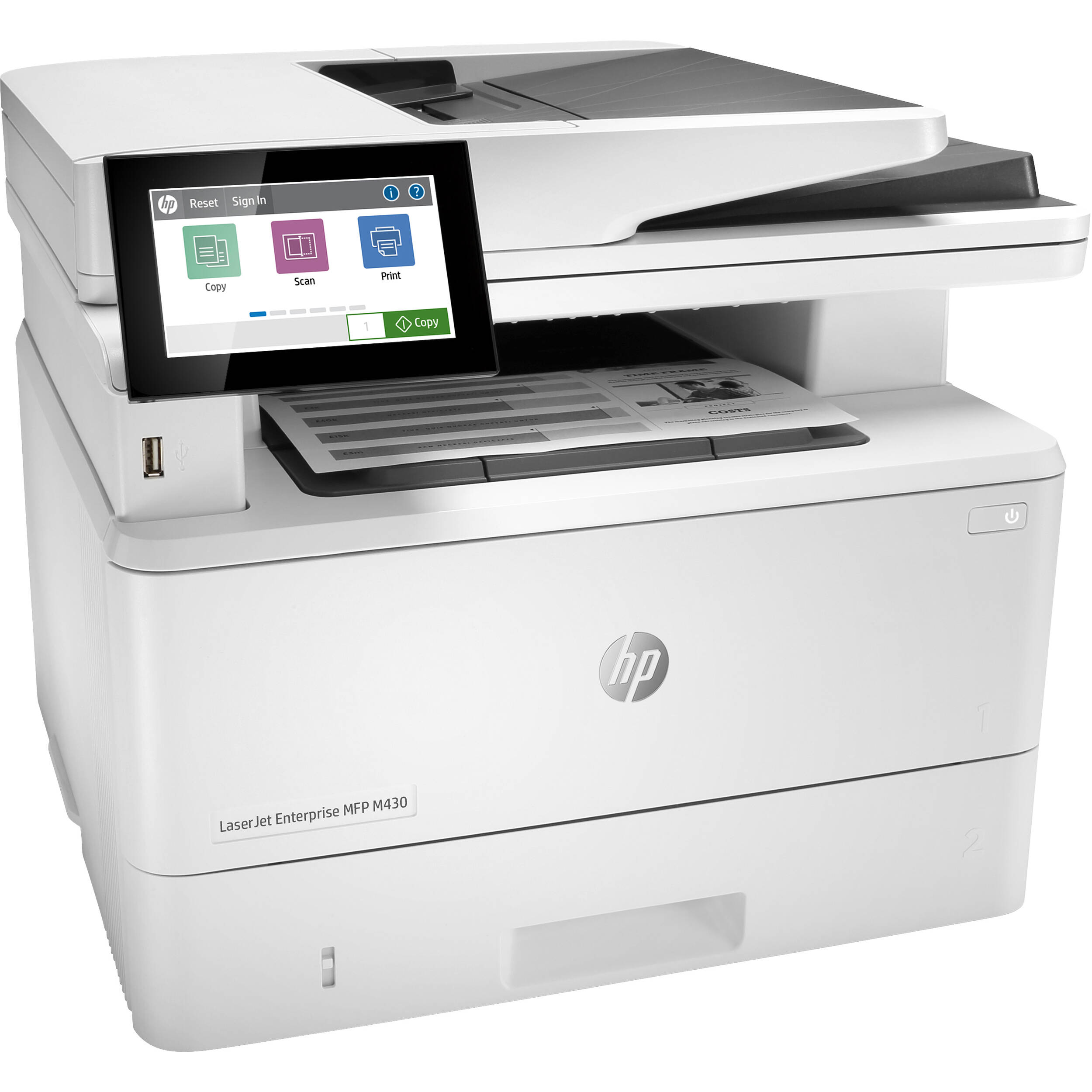 HP LaserJet Enterprise MFP M430f Mono Laser Printer, Refurbished (3PZ55A)