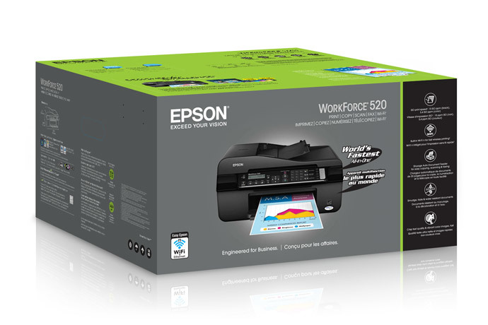 Epson WorkForce 520 Color Inkjet MFP, Fully Refurbished (C11CA78241)